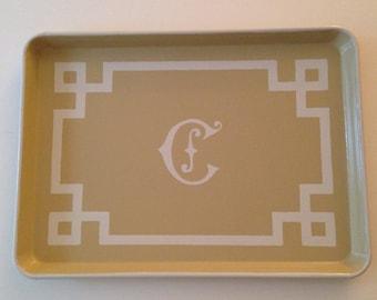 L white chinoiserie monogram greek key border khaki tray