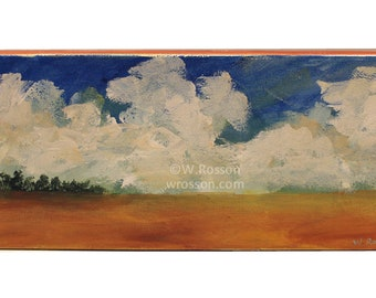Original Landscape, Small Format Canvas, Original Painting, Blue Sky, Cloud Painting, Trees, 4x12, Winjimir, Home Decor, Art, Wall art, Gift