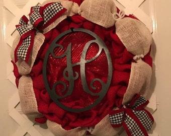 Monogram Houndstooth Wreath - Everyday Wreath - Door Decor - Burlap Wreath - Housewarming Gift - Home Decor - Houndstooth - Crimson Tide