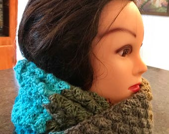 Crochet Infinity Scarf - Fall or Winter Accessory - Striped Cowl Scarf