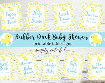 Rubber Duck Baby Shower Prints, Table Set Printable Party Decor, Ducky Baby Shower, Digital Downloads 8x10 Table Signs