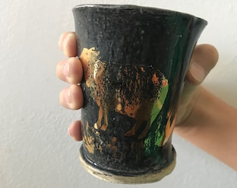Small gold lustered sheep tumbler