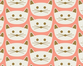 Blush Cat Nap Pink - Art Gallery - Cats - Quilting Cotton Fabric - choose your cut