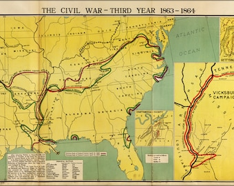Poster, Many Sizes Available; Map Of Civil War Third Year