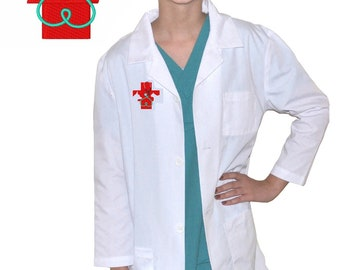 Kids Veterinarian Lab Coat with Red Cross for little Doctors and Nurses