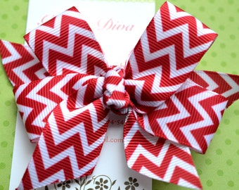 Deep Red and White Chevron Classic Diva Bow