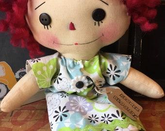 Raggedy Ann - Flower Blossom- Green/ Blue  - ragdoll