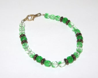 Beautiful Crystal Clear & Green Czech Glass with Antique Brown Czech Glass Beaded Bracelet