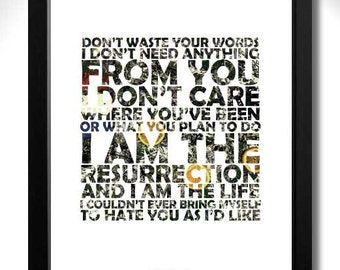 THE STONE ROSES - I Am The Resurrection Limited Edition Unframed A4 Art Print with Lyrics