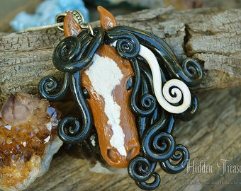 Wild Pony Necklace- handmade polymer clay ooak horse pendant equestrian cowgirl girls jewelry