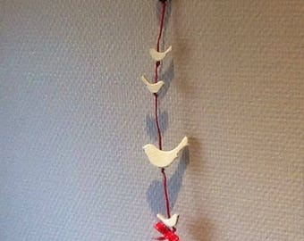 Birds in wood and Red Bow wreath