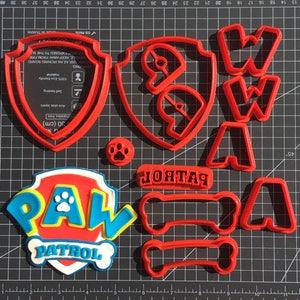 Extra Detailed Paw Patrol Logo Multi-piece Cookie Fondant Cutter Set - Large Sizes!