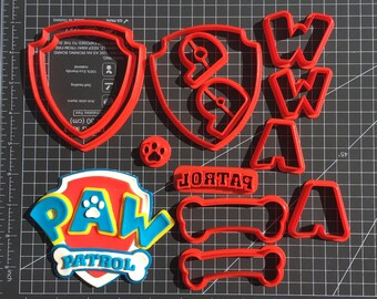 Extra Detailed Paw Patrol Logo Multi-piece Cookie Fondant Cutter Set - Large Sizes!