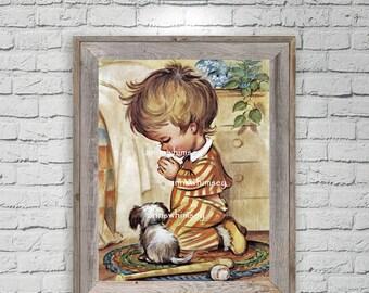 Nursery Art Boy, Boy's Room Art, Guest Room Art, Family Room Wall Art, Dog and Little Boy Bedtime Prayers, Dog Art, Dog and Boy Art #450
