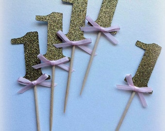 Number cupcake toppers, food picks, gold glitter with satin bow. Pink, gold, glitter.  First birthday. Number 1.  Any number or color!