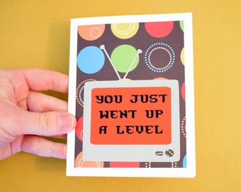 Handmade Greeting Card - Cut out TV - You just went up a level - Blank inside - Birthday Card - Polka Dot - Gamer inspired
