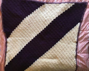 Purple and white blanket