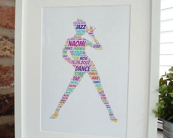 Personalised Jazz Dancer Print, Personalised Dancer Print,  Dance Print, Unframed Print, Word Art Print