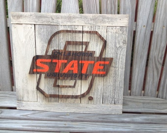 "Big -O STATE; Oklahoma State University  12""x17"" approx. Item #721"