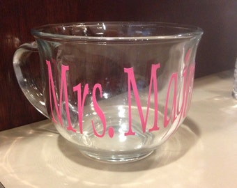 Monogram, Glass Coffee Cup, Vinyl Lettering, Coffee Cup