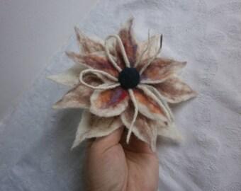Felt Flower Brooch Felt Wool Brooch White Multicolor Felt Brooch Hair Clip Dress Hat Bag Felted Accessories Handmade Wool Pins Flower Brooch