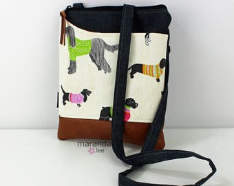 ZOE Messenger Cross Body Sling Bag -Pups with Granite Denim and PU Leather READY to SHIp  Ipad bag