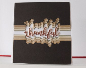 Thanksgiving card - Thank you card - Blank double greeting card - Main card color is white