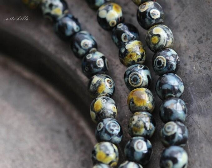 TWILIGHT DRUKS 4mm .. 50 Picasso Czech Druk Glass Beads (5723-st)