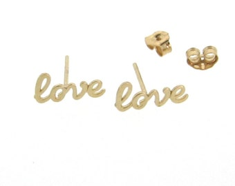 Gold Earring Studs, 14K Gold Love Stud Earrings, Gold Ear Studs For The Romantic at Heart