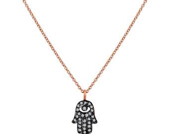 "Hamsa Pave Necklace Charm With Champagne Diamonds 16"""