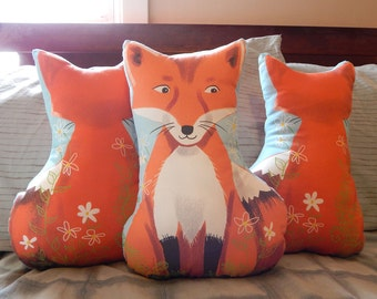 Two Sided Red Fox Stuffed Toy Pillow