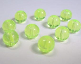 10 yellow neon beads, white translucent 8mm