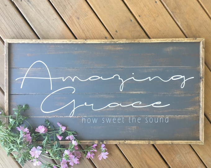 Featured listing image: Amazing grace sign, shiplap style sign, modern farmhouse sign, christian wall decor, how sweet the sound, farmhouse wall decor, large framed