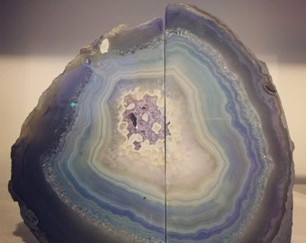 Rainbow Agate Bookends - swirls of neutrals, indigo, blues, purples and greens.