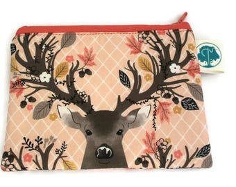 Coin Purse - Coin Bag - Change Purse - Small Cosmetic Bag - Zipper Pouch - Change Pouch - in Fall Deer