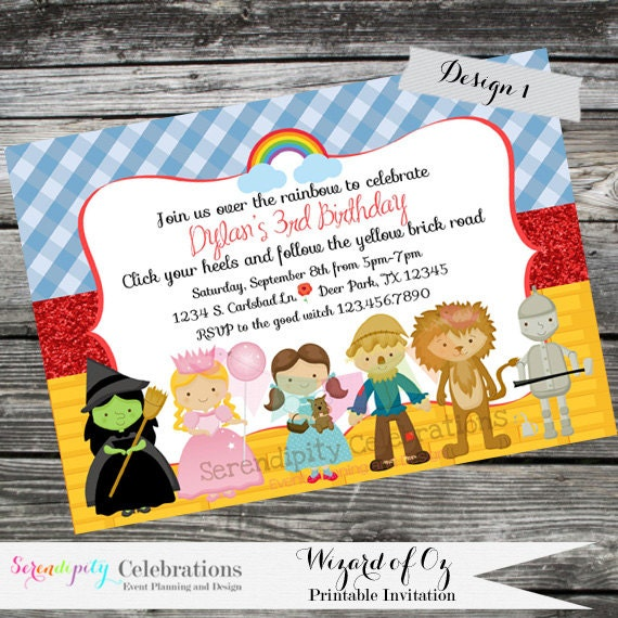 DIY Personalized Invitation Wizard of Oz Invitation Digital
