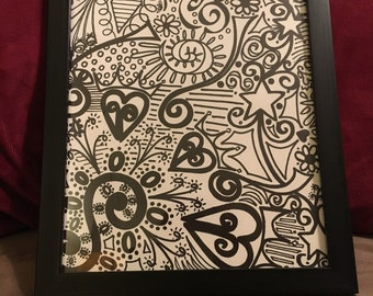 One-of-a-kind Hearts and Stars Framed Doodle