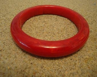 Vintage Bakelite Bracelet! Marbled Semi Translucent Cherry Red & Yellow Colors!!