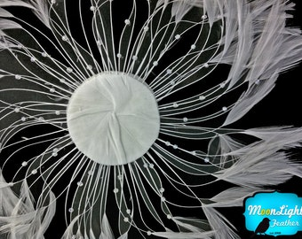 Feather Fan, 1 Piece -GREY whole Beaded Pinwheel Stripped Rooster Hackle Feather Plates : 2194