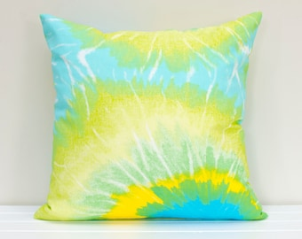 Summer Tie-Dyed Tropical Green, Blue and Yellow Cushion Cover