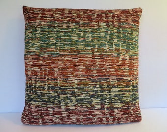 Tweed Look Pillow in Teal Orange Rust Beige / Accent Pillow / Teal Orange Pillow / Decorative Pillow / 18 x 18 Pillow