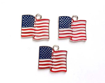 3 amerikanische Flagge Charms - 21-37-9