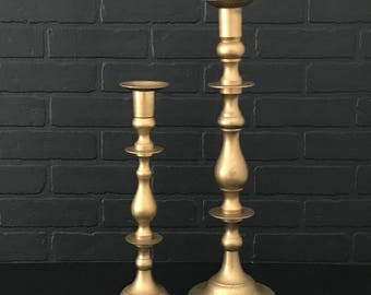 Large Brass Candle Holders . Candle Holder Pair Sticks . Farmhouse Decor . Brushed Gold . Fixer Upper . Modern Farmhouse . Mantle Decor