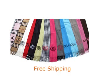 Scarves Personalized Free Shipping -  Scarf Personalized and Monogrammed - 34 colors