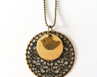 Long necklace rosette Birdy - gold leather and bronze metal - Agathe and Ana