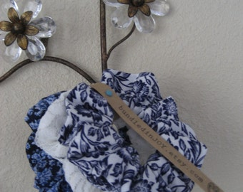 Scrunchies set of 3 : Blue Floral Cottons & Rose Lace Hair Accessaries