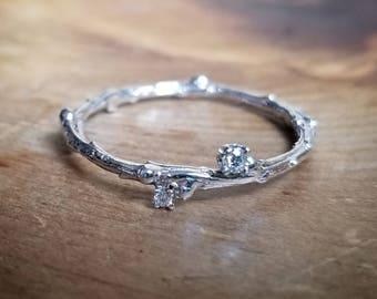 White Gold Ring Diamond Promise Ring for Her Diamond Band Ring Engagement Ring Girlfriend Ring Simple Promise Ring Dainty Ring Gift for Her