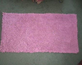 Vintage 1940s Fabulous Purple 48x24 Thick Plush Heavy Cotton Loop Bath Mat Rug No.1