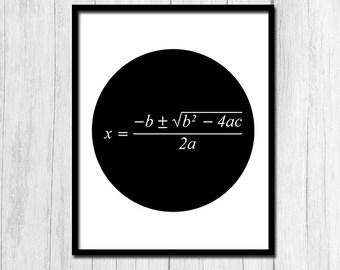 Quadratic Formula Poster Digital Download Math Poster Math Classroom Math Gifts Math Equation Quadratic Formula Print Instant Download