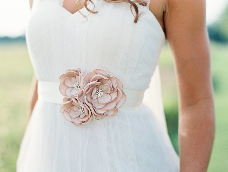 Champagne Sash Bridal Gown Flower Sash Wedding Gown Dress